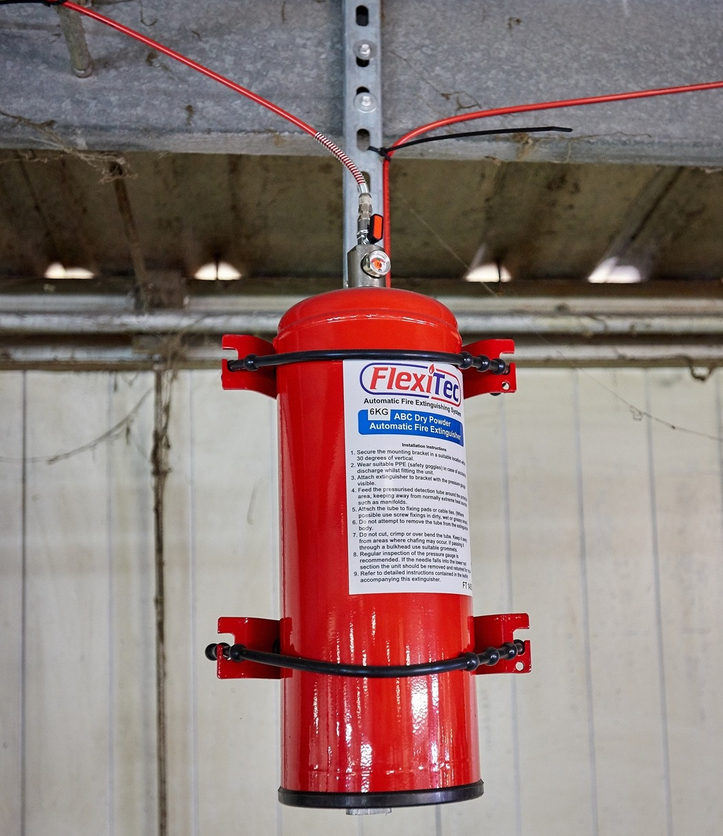 Dry powder automatic fire extinguisher in situ at Wiser Recycling's Thetford facility