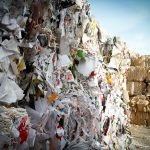 waste management facility with bales of recycled material