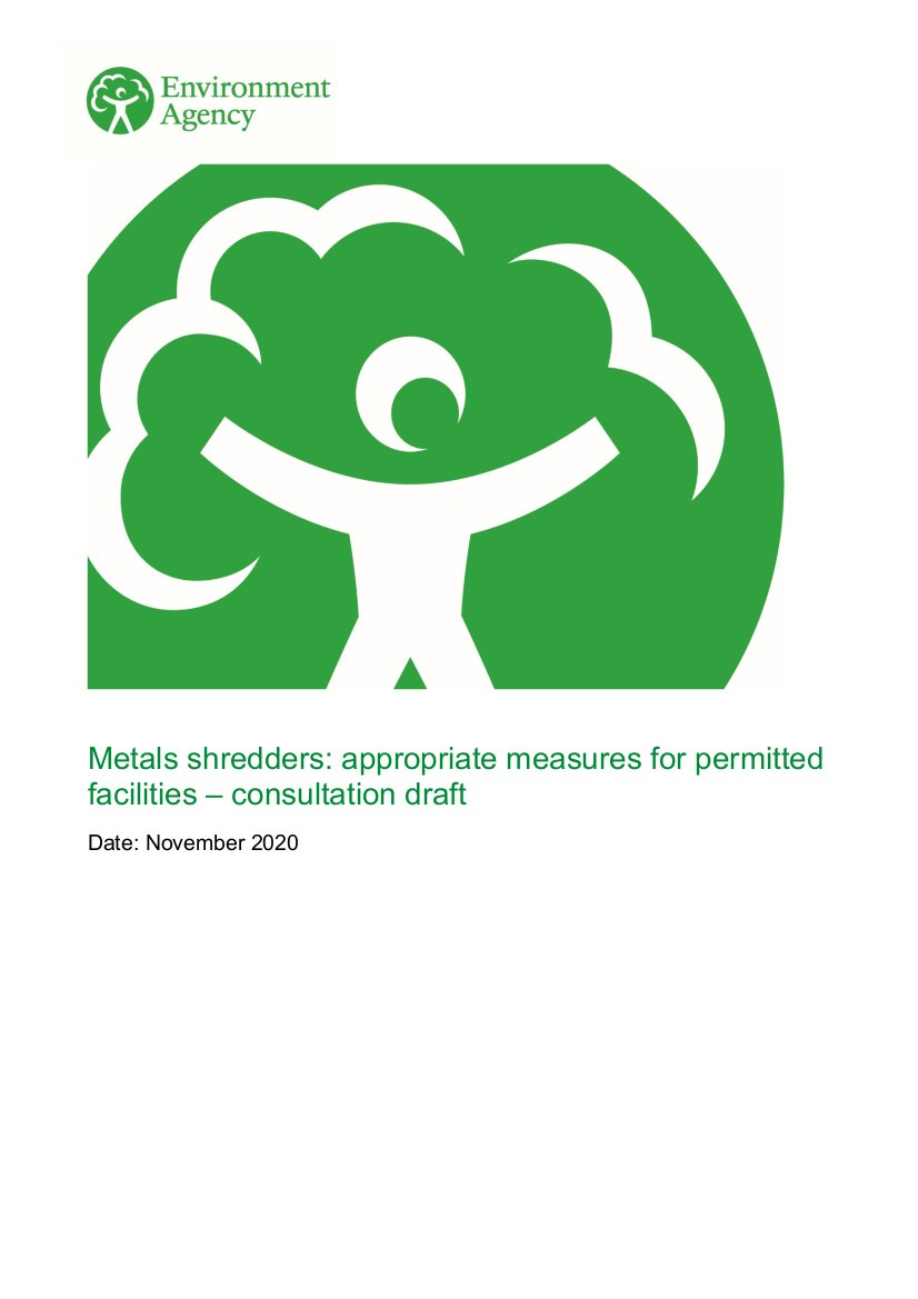 Metal shredders - appropriate measures for permitted facilities consultation